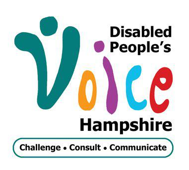 Disabled Peoples Voice Hampshire logo with the slogan Challenge, Consult and Communicate