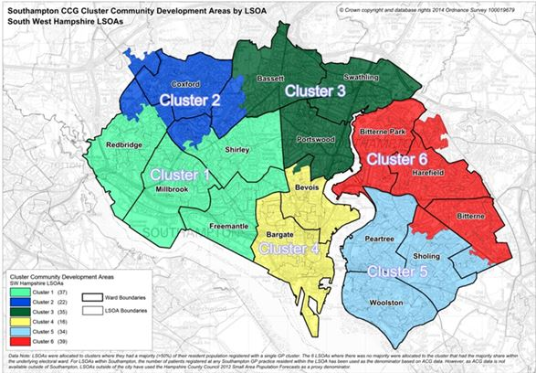 Cluster map showing the different wards in Southampton
